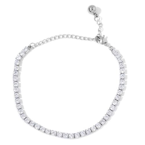 AAA Simulated White Diamond Tennis Bracelet (Size 6.5 with 2 inch Extender) in Stainless Steel