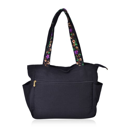 Designer Inspired-Black, Pink and Multi Colour Floral Embroidered Tote Bag with Metallic Charm (Size 30.5X27X10 Cm)