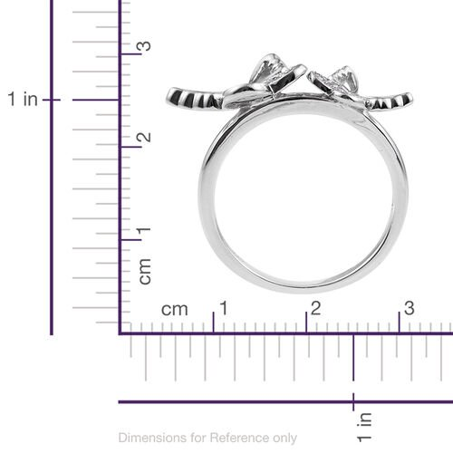 Kimberley Collection Natural Cambodian Zircon (Rnd) Butterfly Ring in Platinum Overlay Sterling Silver