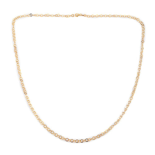 JCK Vegas Collection 14K Gold Overlay Sterling Silver Open Circle Chain (Size 36), Silver wt. 9.70 Gms.