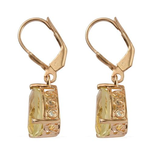 Natural Ouro Verde Quartz (Pear) Lever Back Earrings in 14K Gold Overlay Sterling Silver 6.250 Ct.