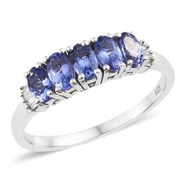 Super Auction- Tanzanite (Ovl), Diamond Ring in Platinum Overlay Sterling Silver 1.350 Ct.