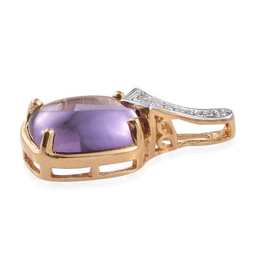 Amethyst (Cush) Solitaire Pendant in 14K Gold Overlay Sterling Silver 4.500 Ct.