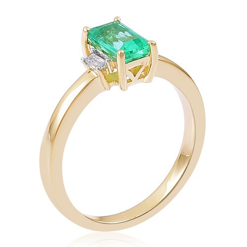 9K Yellow Gold 1.15 Ct Boyaca Colombian Emerald, Diamond Ring