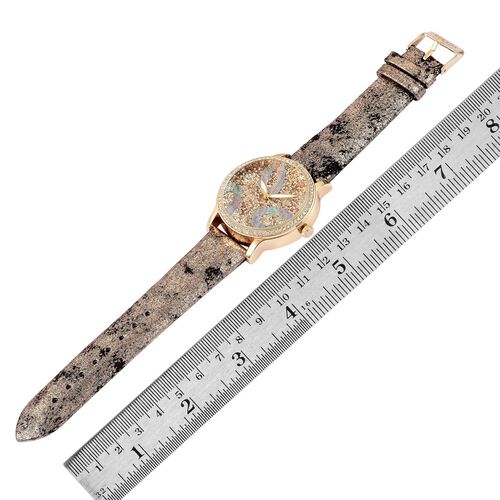 STRADA Japanese Movement Champagne Stardust Dial Watch with White Austrian Crystal in Yellow Gold Tone with Stainless Steel Back