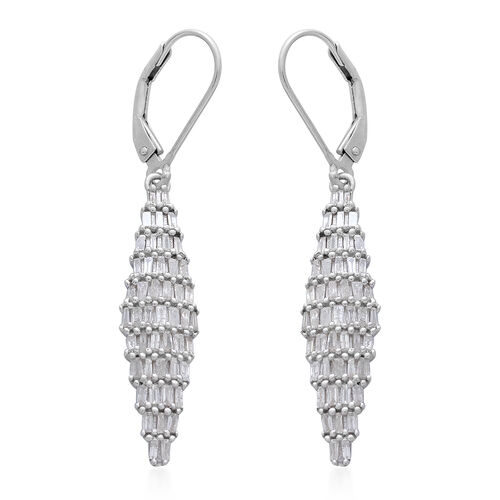 Diamond (Bgt) Lever Back Earrings in Platinum Overlay Sterling Silver 1.000 Ct.
