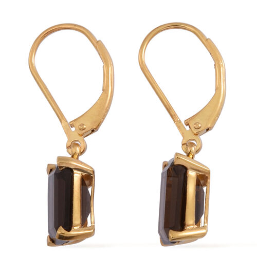 Brazilian Smoky Quartz (Oct) Lever Back Earrings in 14K Gold Overlay Sterling Silver 5.500 Ct.