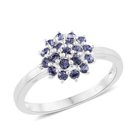 J Francis Crystal from Swarovski - Tanzanite Colour Crystal (Rnd) Flower Ring in Sterling Silver