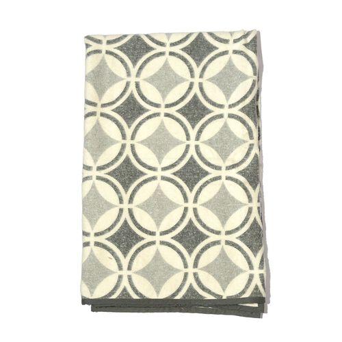 100% Cotton Flannel Grey Colour Geometric Pattern Plaid (Size 150x130 Cm)