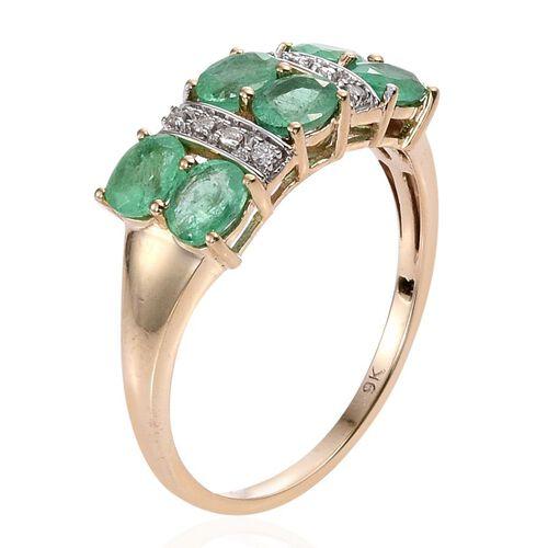 9K Y Gold Boyaca Colombian Emerald (Ovl), Diamond Ring 2.000 Ct.