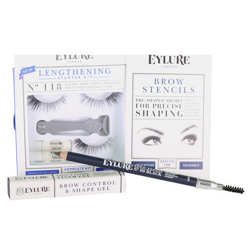 Day Eye Kit, Lengthening Lashes 118, Brow Stencils, Brow Gel, Brow Pencil Black