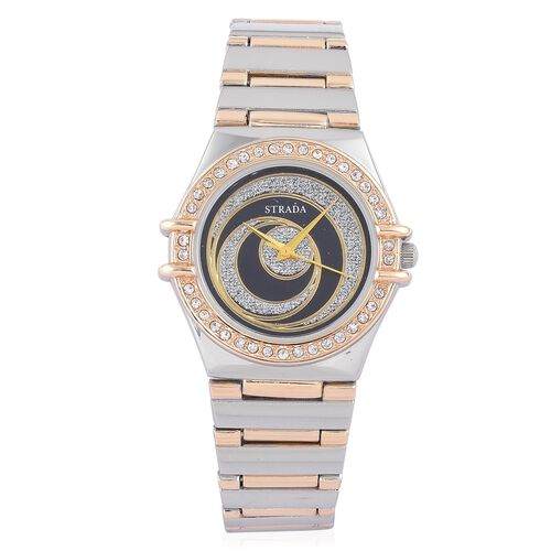 STRADA Japanese Movement Silver Stardust Black Colour Dial with White Austrian Crystal Water Resistant Watch in Yellow Gold and Silver Tone with Stainless Steel Back