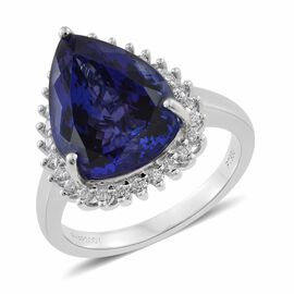 RHAPSODY 950 Platinum 10.25 Ct AAAA Tanzanite and Diamond VS E-F Ring