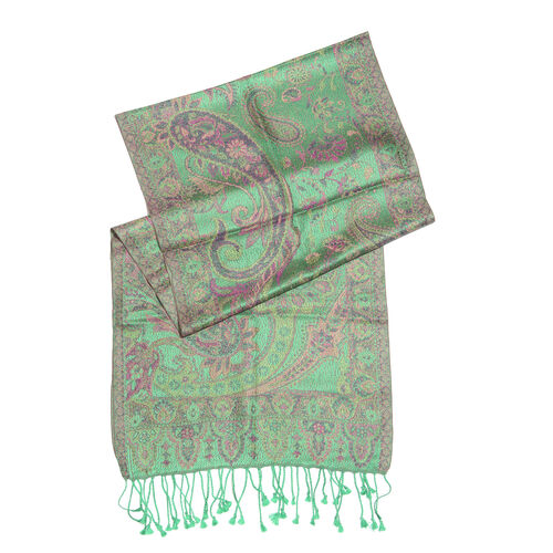 SILK MARK - 100% Superfine Green, Pink and Multi Colour Paisley and Floral Pattern Jacquard Jamawar Stole with Fringes at the Bottom (Size 170x35 Cm)