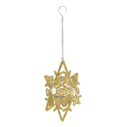 Home Decor - Golden Colour Sparkle Snowflake Decorative Hanging Light Holder (Size 20x15 Cm)