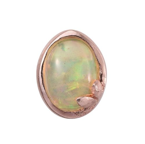 Ethiopian Welo Opal (Ovl) Solitaire Pendant in Rose Gold Overlay Sterling Silver 0.500 Ct.