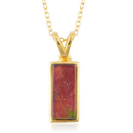 Canadian Ammolite (Bgt) Solitaire Pendant With Chain in 14K Gold Overlay Sterling Silver 1.750 Ct.