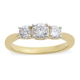 ILIANA 18K Y Gold IGI Certified Diamond (G-H/I3) (Oct) 3 Stone Ring 1.000 Ct.