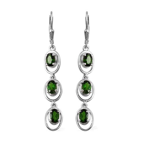 Russian Diopside (Ovl) Lever Back Earrings in Platinum Overlay Sterling Silver 3.250 Ct.