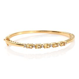 Citrine (Ovl), Natural Cambodian Zircon Bangle (Size 7.5) in ION Plated 18K Yellow Gold Bond 2.750 Ct.