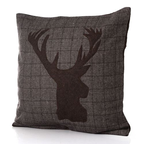 55% Wool Chocolate Colour Reindeer Pattern Beige Colour Cushion (Size 43x43 Cm)