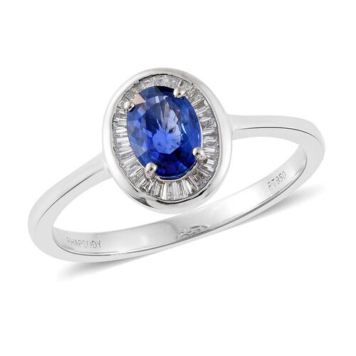 RHAPSODY 950 Platinum AAAA Ceylon Blue Sapphire (Ovl 1.02 Ct), Diamond (VS/E-F) Ring 1.250 Ct.