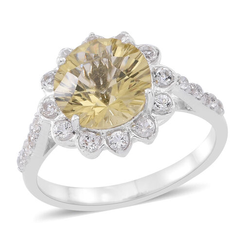 Lemon Quartz (Rnd), White Topaz Ring in Rhodium Plated Sterling Silver 4.250 Ct.