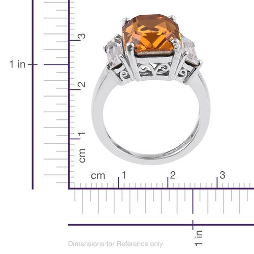 J Francis Crystal from Swarovski - Topaz Colour Crystal (Oct), White Crystal Ring in ION Plated Platinum Bond