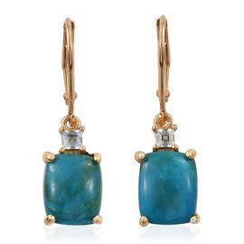 Natural Rare Opalina (Cush), Espirito Santo Aquamarine Lever Back Earrings in 14K Gold Overlay Sterling Silver 5.500 Ct.