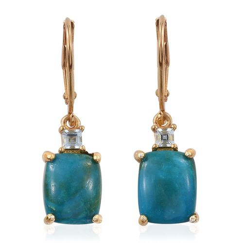 Natural Rare Opalina (Cush), Espirito Santo Aquamarine Lever Back Earrings in 14K Gold Overlay Sterling Silver 5.500 Ct.