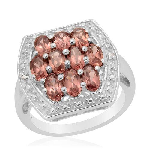 Malaya Garnet (Ovl) Diamond Ring in Platinum Overlay Sterling Silver  2.590 Ct.