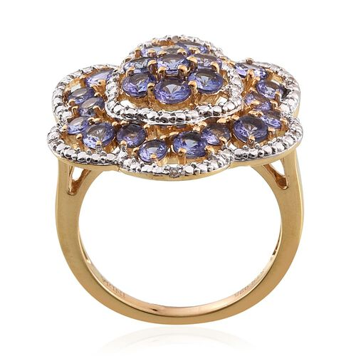 Tanzanite (Rnd), Natural Cambodian Zircon Floral Ring in 14K Gold Overlay Sterling Silver 2.500 Ct.