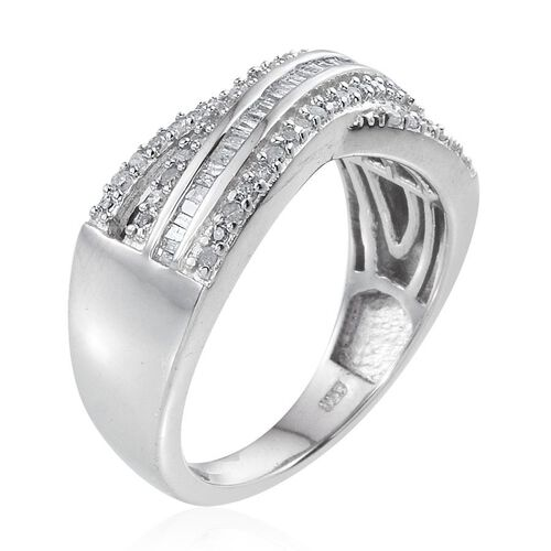 Diamond (Bgt) Criss Cross Ring in Platinum Overlay Sterling Silver 0.500 Ct.