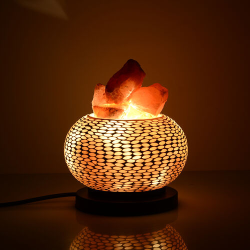 Home Decor - Handcrafted Mosaic Electric Lamp with Natural Himalayan Rock Salt (1.6kg) - Cream
