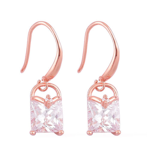 AAA Simulated Diamond Lock Design Pendant With Chain (Size 18 with 1.5 inch Extender) and Hook Earrings in Rose Gold Tone