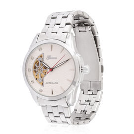 GENOA Automatic Skeleton White Austrian Crystal Studded White Dial Watch in Silver Tone with Stainless Steel and Glass Back
