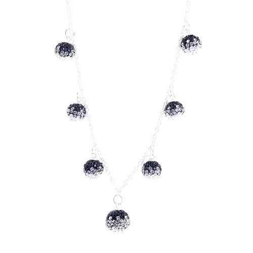 AAA White and Black Austrian Crystal Necklace (Size 18) in Sterling Silver
