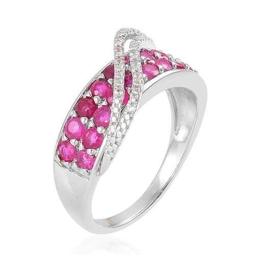 AAA Burmese Ruby (Rnd), Natural Cambodian White Zircon Ring in Platinum Overlay Sterling Silver 1.950 Ct