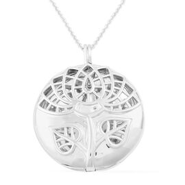 RACHEL GALLEY Rhodium Plated Sterling Silver Lotus Locket Pendant with Chain (Size 30), Silver wt 33.00 Gms.