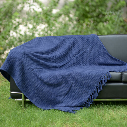 100% Cotton Jacquard Chenille Dark Blue Colour Plaid (Size 150x125 Cm)