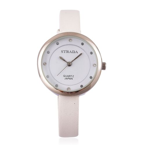 STRADA Japanese Movement White Austrian Crystal Watch with Stainless Steel Back and White Colour Strap