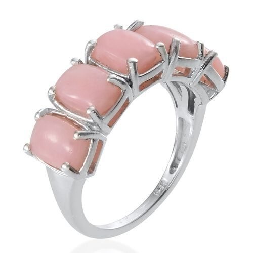 Natural Peruvian Pink Opal (Cush) 5 Stone Ring in Platinum Overlay Sterling Silver 4.000 Ct.