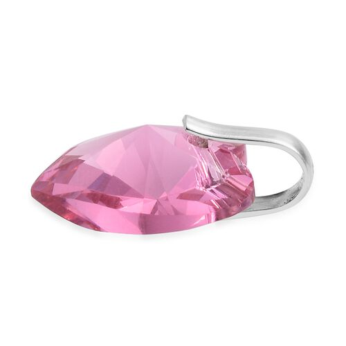 J Francis Crystal From Swarovski - Rose Colour Crystal (Hrt18 mm) Pendant in Sterling Silver
