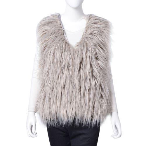 Grey Colour Faux Fur Vest (Size 70X52 Cm)