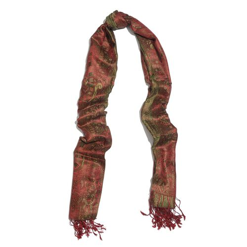 SILK MARK - 100% Superfine Silk Multi Colour Paisley and Leaves Pattern Red Colour Jacquard Jamawar Scarf with Tassels (Size 180x70 Cm) (Weight 125-140 Grams)