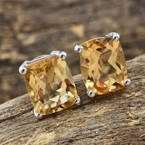 Citrine Stud Earrings in Platinum Plated Silver (with Push Back) 8 Carat