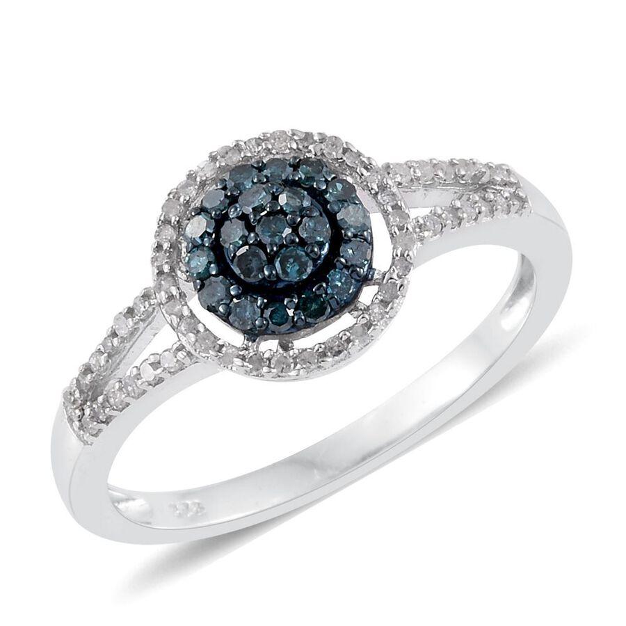 Blue Diamond Platinum: 1/2 Carat Blue And White Diamond Ring In Platinum Overlay