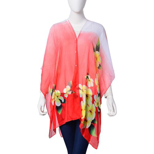 Blooming Flower Pattern Red, Pink and Multi Colour Poncho with Simulated White Pearl Button (Size 90x75 Cm)