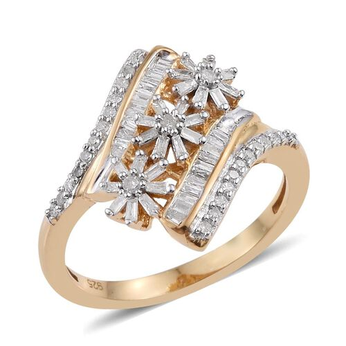Diamond (Rnd) Triple Floral Ring in 14K Gold Overlay Sterling Silver 0.550 Ct.