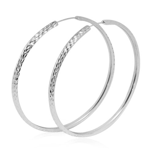 Vicenza Collection 9K White Gold Diamond Cut Hoop Earrings, Gold wt 3.68 Gms.